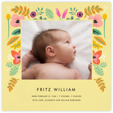 Folk Foliage - Yellow - Rifle Paper Co. - Birth Announcements