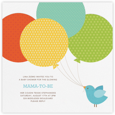 Bird Balloon (Invitation) - Blue - Petit Collage - Woodland Baby Shower Invitations