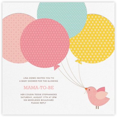 Bird Balloon (Invitation) - Pink - Petit Collage - Woodland Baby Shower Invitations