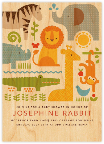Safari Parade (Invitation) - Petit Collage - Baby Shower Invitations