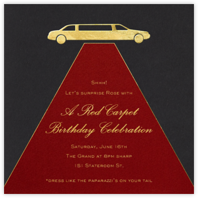 Red Carpet - Paperless Post - Adult Birthday Invitations