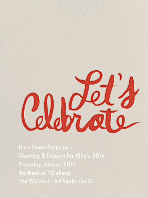 Let's Celebrate - Red - Linda and Harriett - Adult birthday invitations