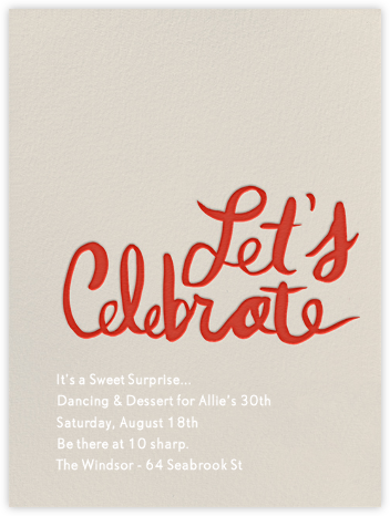 Let's Celebrate - Red - Linda and Harriett - Birthday invitations