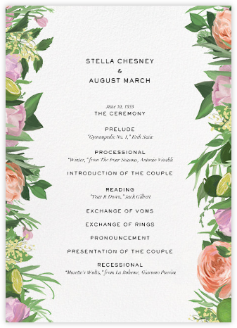 Wedding menus and programs available in paper online at