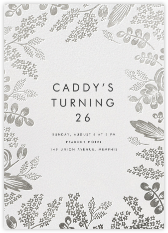 Heather and Lace - Silver - Rifle Paper Co. - Adult Birthday Invitations