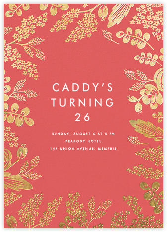 Heather and Lace - Coral/Gold - Rifle Paper Co. - Adult Birthday Invitations