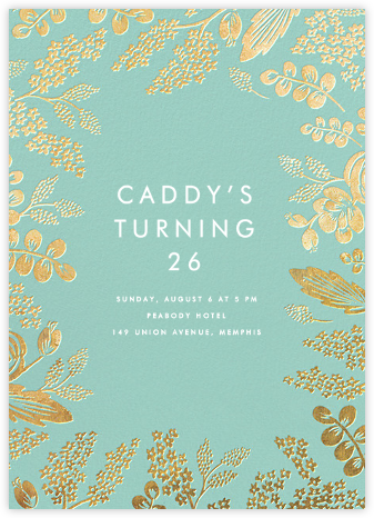 Heather and Lace - Celadon/Gold - Rifle Paper Co. - Adult Birthday Invitations
