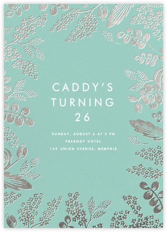 Heather and Lace - Celadon/Silver - Rifle Paper Co. - Adult Birthday Invitations