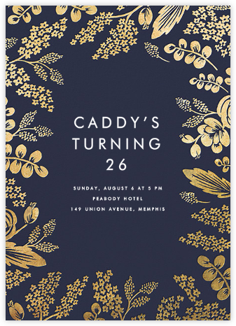 Heather and Lace - Navy/Gold - Rifle Paper Co. - Adult Birthday Invitations