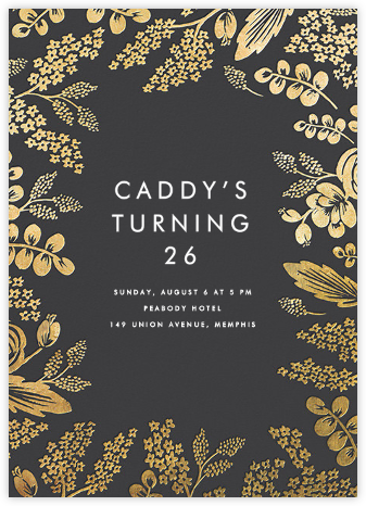 Heather and Lace - Slate/Gold - Rifle Paper Co. - Adult Birthday Invitations