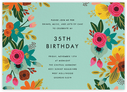 Floral Tropics - Celadon - Rifle Paper Co. - Adult birthday invitations