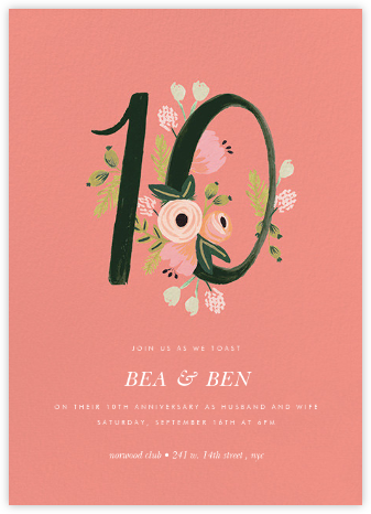 Botanic Numerals (Ten) - Pink - Rifle Paper Co. - Rifle Paper Co. Invitations