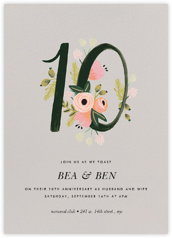 Botanic Numerals (Ten) - Gray - Rifle Paper Co. - Rifle Paper Co. Invitations