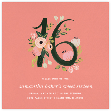 Botanic Numerals (Sixteen) - Pink - Rifle Paper Co. - Sweet 16 invitations