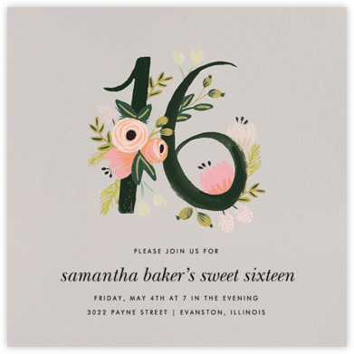 Botanic Numerals (Sixteen) - Gray - Rifle Paper Co. - Sweet 16 invitations