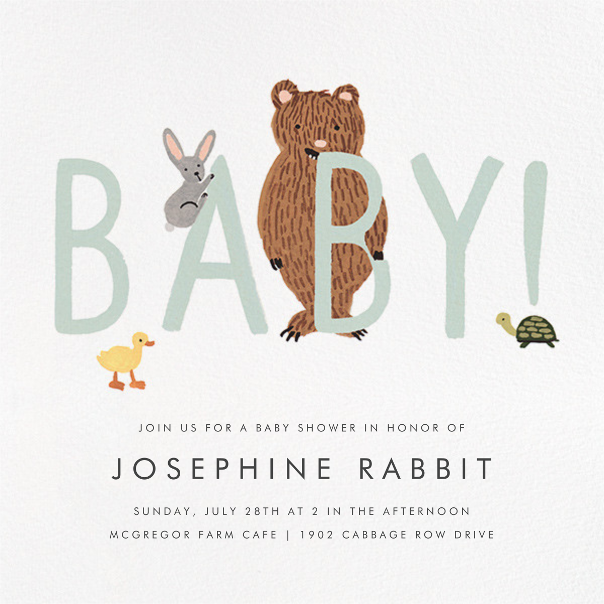 Bunny, Bear, and Baby - Mint - Rifle Paper Co. - Parties