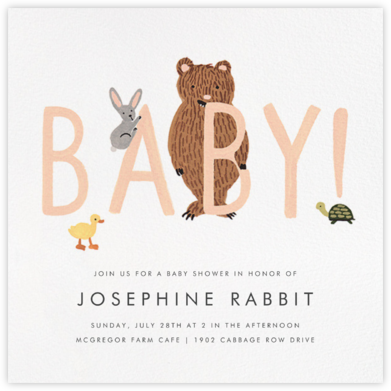 Bunny, Bear, and Baby - Peach - Rifle Paper Co. - Online Party Invitations