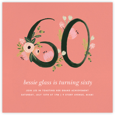 Botanic Numerals (Sixty) - Pink - Rifle Paper Co. - Rifle Paper Co. Invitations