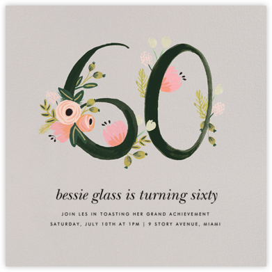 Botanic Numerals (Sixty) - Gray - Rifle Paper Co. - Milestone Birthday Invitations