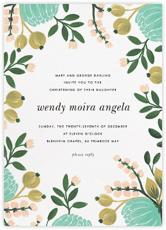 Blue Blooms - Rifle Paper Co. - Christening Invitations
