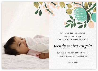Blue Blooms (Photo) - Rifle Paper Co. - Christening Invitations