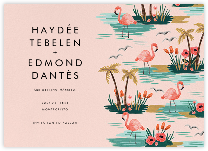 Flamingo Lagoon (Horizontal) - Pink - Rifle Paper Co. - Wedding Save the Dates