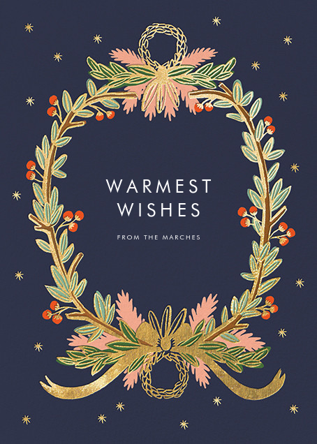 Midnight Wreath - Navy - Rifle Paper Co. - Holiday cards