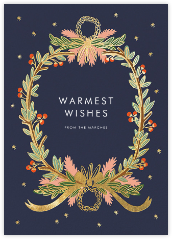 Midnight Wreath - Navy - Rifle Paper Co. - Christmas Cards