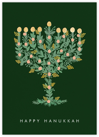 Floral Menorah (Greeting) - Hunter Green | tall