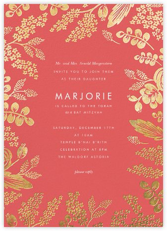 Heather and Lace - Coral/Gold - Rifle Paper Co. - Bar and Bat Mitzvah Invitations