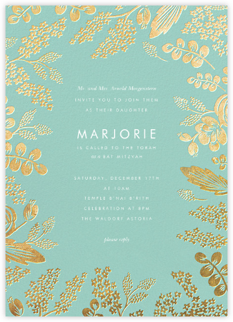 Heather and Lace - Celadon/Gold - Rifle Paper Co. - Bat and Bar Mitzvah Invitations