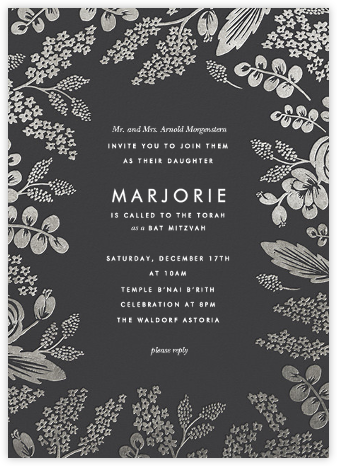 Heather and Lace - Slate/Silver - Rifle Paper Co. - Bar and Bat Mitzvah Invitations