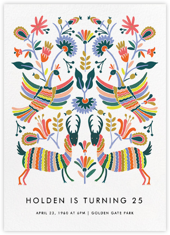Otomi Wildlife (Tall) - Rifle Paper Co. - Adult Birthday Invitations