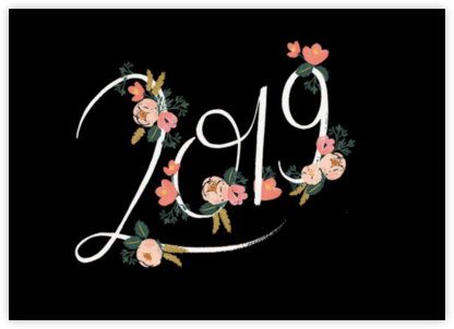 Botanic Year (Horizontal) - Black - Rifle Paper Co. - New Year cards