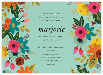 Floral Tropics - Celadon - Rifle Paper Co. - Bat and Bar Mitzvah Invitations