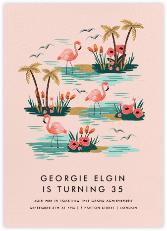 Flamingo Lagoon (Tall) - Rifle Paper Co. - Adult Birthday Invitations