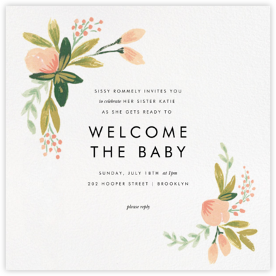 Peach Posies - Rifle Paper Co. - Baby Shower Invitations