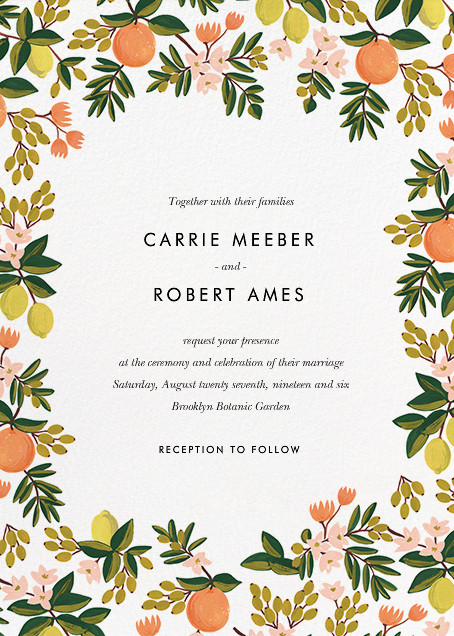 Citrus Orchard Suite (Invitation) - White - Rifle Paper Co. - Rifle Paper Co. Wedding
