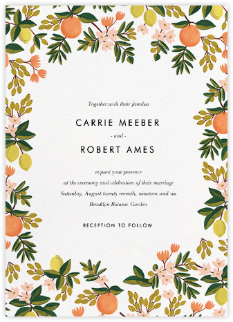 Citrus Orchard Suite (Invitation) - White - Rifle Paper Co. - Printable Invitations