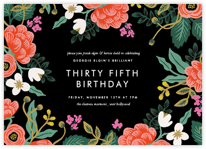 Birch Monarch (Frame) - Black  - Rifle Paper Co. - Adult Birthday Invitations