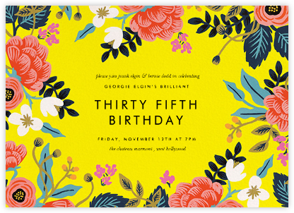 Birch Monarch (Frame) - Yellow - Rifle Paper Co. - Adult Birthday Invitations