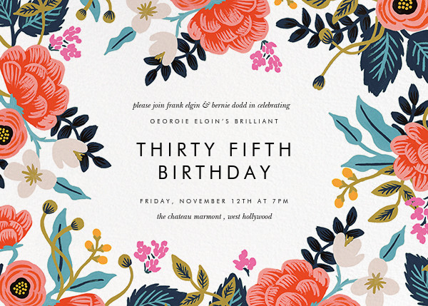 Birch Monarch (Frame) - White - Rifle Paper Co. - Adult birthday invitations