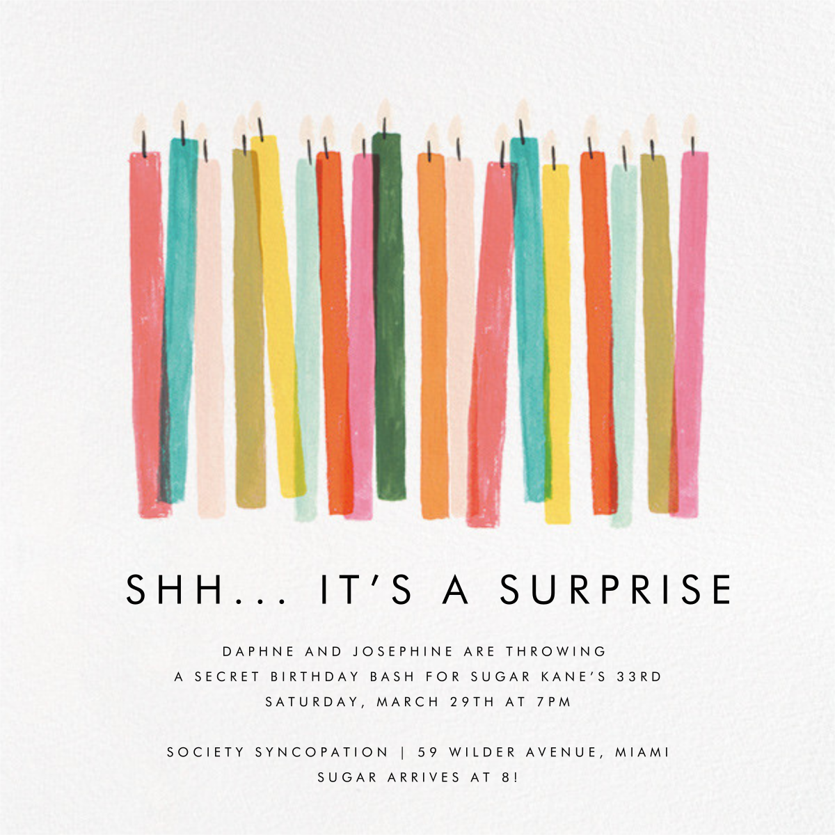 Candle Stand - Rifle Paper Co. - Adult birthday invitations