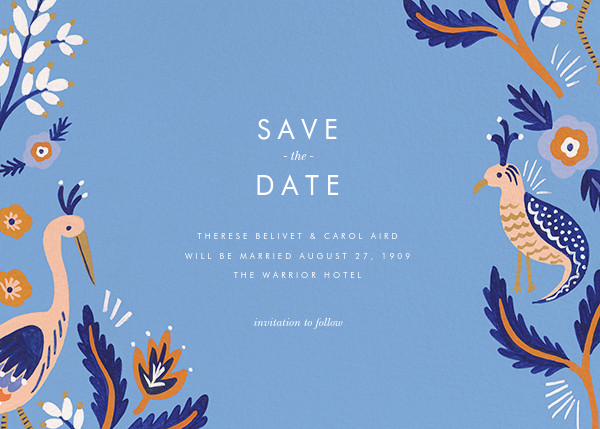 Heron Heralds (Save the Date) - Blue - Rifle Paper Co. - Rifle Paper Co. Wedding
