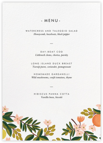 Citrus Orchard Suite (Menu) - White - Rifle Paper Co. - Rifle Paper Co. Wedding
