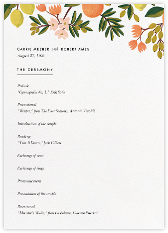 Citrus Orchard Suite (Program) - White - Rifle Paper Co. - Wedding menus and programs - available in paper