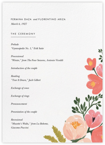 Pastel Petals (Program) - Rifle Paper Co. - Wedding menus and programs - available in paper