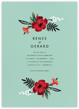 Kona Floral (Invitation) - Celadon - Rifle Paper Co. - Wedding Invitations