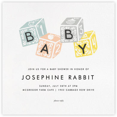 Baby Building Blocks - Rifle Paper Co. - Online Party Invitations