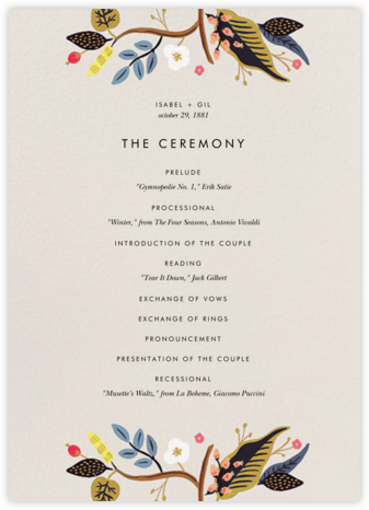 Egret Garden (Program) - Rifle Paper Co. - Wedding menus and programs - available in paper
